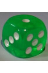 Dobbelsteen 16mm Translucent Groen D6