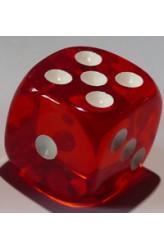 Dobbelsteen 16mm Translucent Rood D6