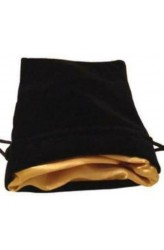 Dice Bag: zwart fluweel met gouden voering (10x15cm)