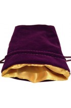 Dice Bag: paars fluweel met gouden voering (10x15cm)