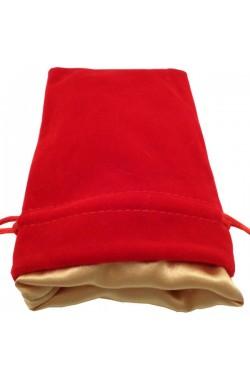 Dice Bag: rood fluweel met gouden voering (10x15cm)