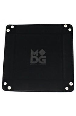 Folding Dice Tray 10x10 Leder en Fluweel - Zwart