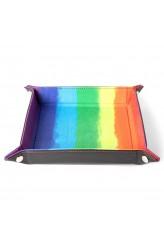 Folding Dice Tray 10x10 Leder en Fluweel - Watercolor Rainbow