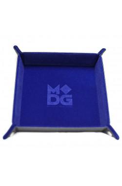 Folding Dice Tray 10x10 Leder en Fluweel - Blauw