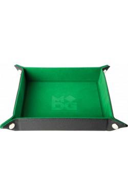 Folding Dice Tray 10x10 Leder en Fluweel - Groen