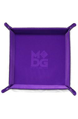 Folding Dice Tray 10x10 Leder en Fluweel - Paars