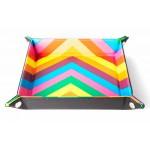 Folding Dice Tray 10x10 Leder en Fluweel - Rainbow