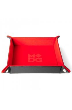 Folding Dice Tray 10x10 Leder en Fluweel - Rood
