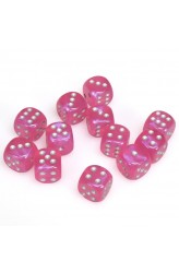 Chessex Dobbelsteen 16mm Borealis Pink and Silver