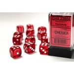 Chessex Dobbelsteen 16mm Translucent Rood