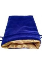 Dice Bag: blauw fluweel met gouden voering (10x15cm)