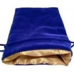 Dice Bag: blauw fluweel met gouden voering (15x20cm)