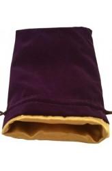 Dice Bag: paars fluweel met gouden voering (15x20cm)