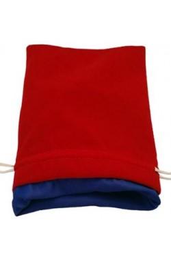 Dice Bag: rood fluweel met blauwe voering (15x20cm)